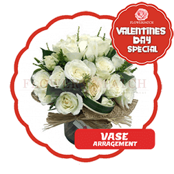 vday with badge VASE